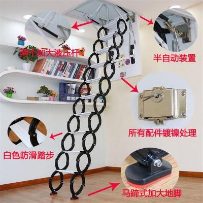 加厚閣樓伸縮樓梯電動折疊樓梯家用隱形梯帶扶手復式室內升降成品定制 新款加厚加筋鋼制80*120
