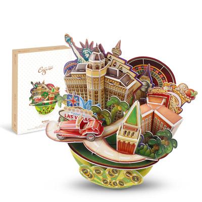 DIE-CAST樂立方(CubicFun)3D立體拼圖拼插拼裝創意建筑模型玩具 仿真城市建筑縮影拼圖 拉斯維加斯