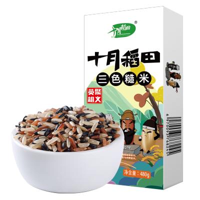十月稻田 轻食三色糙米五谷杂粮红黑米粗粮健身脂减饭480g
