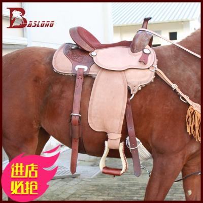 八尺龍 馬術運動雙色西部鞍騎馬鞍牛皮全套花金屬裝飾鞍具系列