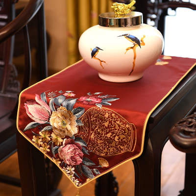 新中式绣花桌旗典桌布客厅餐桌电视柜茶几布艺床旗