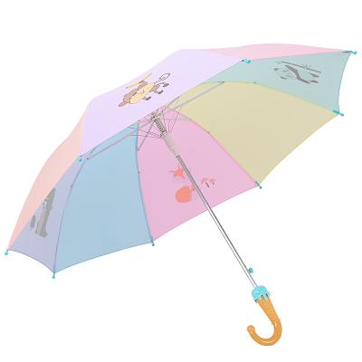 天堂傘 兒童傘直桿傘長柄傘防紫外線晴雨傘太陽傘遮陽傘53cm*8骨 3051E動物派對藍色