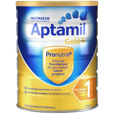 【親源配方】海外Aptamil 澳洲愛他美 金裝嬰幼兒奶粉 1段(0-6月)900g/罐 新西蘭原裝進口