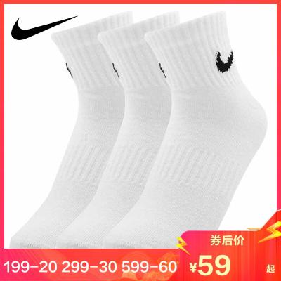 NIKE耐克男襪2019運動襪休閑訓練中筒短襪子3雙裝SX7677-100