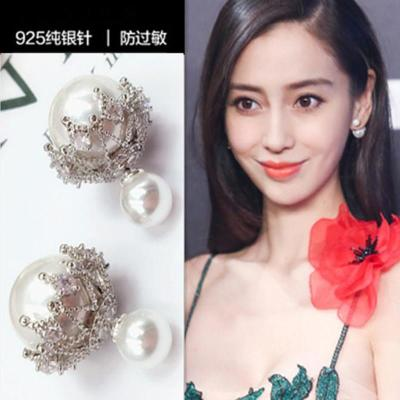 东大门新款镂空锆石耳环气质双面大小珍珠耳钉925纯银耳饰
