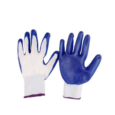 【規格:12雙裝 白紗藍/黑紗黑 顏色備注】半膠手套 勞保防護尼龍丁腈浸膠手套 汽修搬運工廠商用 柔軟耐磨丁青乳膠手套
