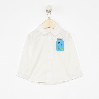 【1件3折价:37.8】moomoo童装男童衬衫2019新款春秋装男宝宝休闲纯棉长袖时髦白衬衫