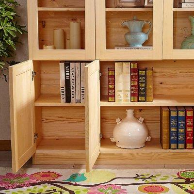 顧致柏木居家具松木書柜書架23組裝書櫥帶玻璃自由組合實木書柜
