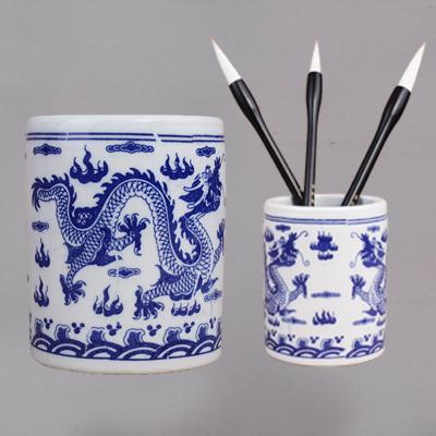 陶瓷青花瓷笔筒 毛笔洗缸瓷器书法国画用 双龙戏珠中号笔筒