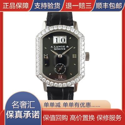 【二手95新】朗格 18K白金镶钻 手动机械机芯 大日历  时尚 女表
