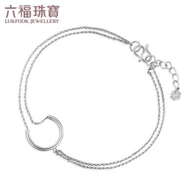 六福珠宝PT950铂金手链C字形月亮双层白金手链计价L04TBPB0007