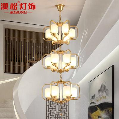 澳松現代新中式樓梯吊燈大氣客廳燈中國風個性創意餐廳別墅復式樓梯間長吊燈具