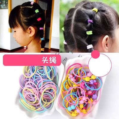 100根兒童頭繩發圈發飾女孩扎頭發橡皮筋彩色發繩不傷發頭飾