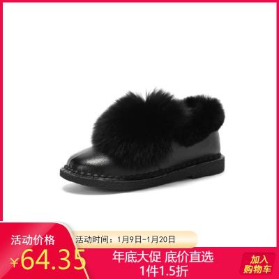 Daphne/达芙妮冬新款圆头短靴低跟舒适毛绒时尚冬靴女1017607021
