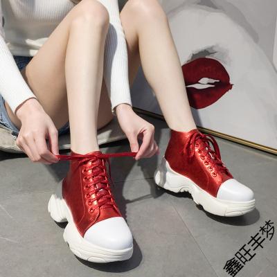 富悅美歐洲站女鞋紅色高幫鞋2020春季新款真皮系帶厚底松糕運動鞋百搭潮