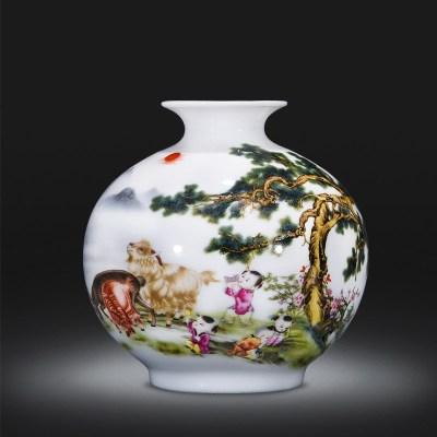 景德镇陶瓷器石榴小花瓶家居装饰品摆件插花中式客厅电视柜工艺品