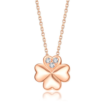 佐卡伊zocai 玫瑰18k金項鏈 鉆石吊墜時尚小清新四葉草項墜項鏈正品新品珠寶