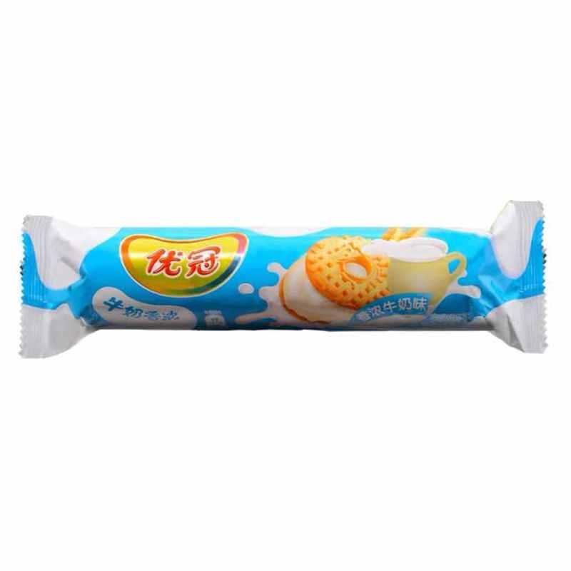 优冠 牛奶特浓夹心饼干(香浓牛奶味)130g/袋