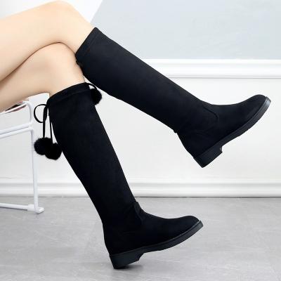 女童靴子棉靴2019秋冬季新款潮韩版弹力布靴中筒靴中大童流苏长靴