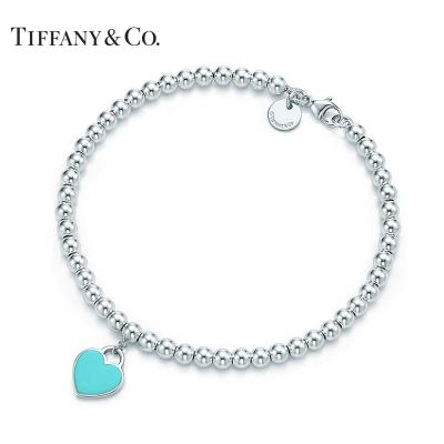 Tiffany&Co.:蒂芙尼925銀經典款藍色琺瑯珠珠手鏈
