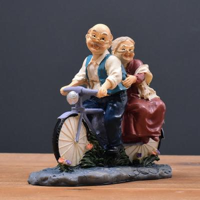 幸福單車老頭老太客廳酒柜電視柜擺件家居裝飾品擺設結婚禮物禮品