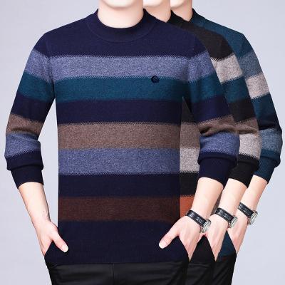 冬季鄂尔多斯市羊绒衫男圆领条纹商务休闲中年加厚羊毛衫男毛衣保暖打底衫100%山羊绒针织衫男国货男士毛衣中老年针织打底衫