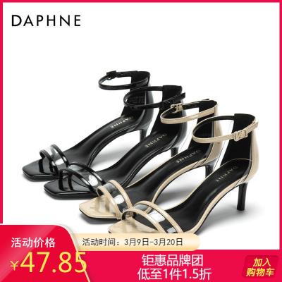 Daphne/達芙妮專柜正品女鞋 夏優雅方頭撞色高跟鞋時尚一字帶涼鞋