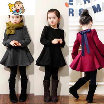 小女孩冬天穿的裙子冬季洋气加绒加厚女中童连衣裙3韩版4岁7公主8