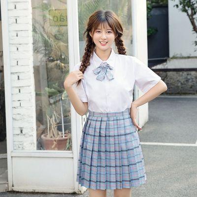 新款日韓系班服畢業季水手服學生校服套裝裙學院風女白襯衫格子裙jk制服 莎丞