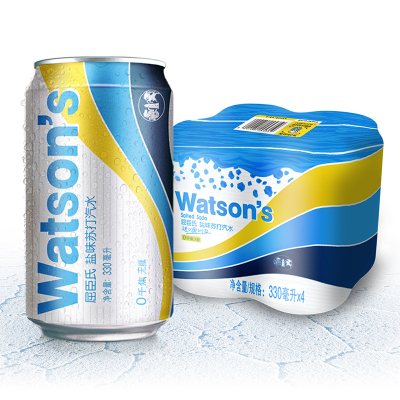 屈臣氏(Watsons)盐味苏打汽水330mlX4罐