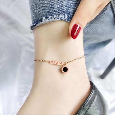 韓國玫瑰金經典鈦鋼雙面羅馬數字腳鏈防過敏不掉色女新品百搭簡約