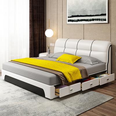驰友CHIYOU 床真皮床简约现代卧室家具皮质1.5米1.8米双人床实木床婚床皮艺床