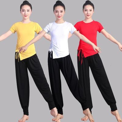 新款廣場舞套裝莫代爾雪紡燈籠褲女練功考級舞蹈服裝演出跳舞衣服