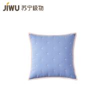 苏宁极物全棉绗缝撞色抱枕套 蓝粉色 45×45cm