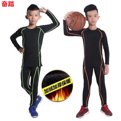 秋冬加絨兒童訓練緊身衣長袖男運動健身服套裝彈力籃球打底服速干