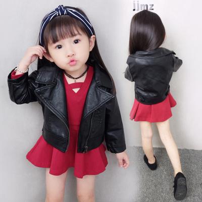 女童皮衣外套秋装韩版儿童pu皮夹克 小女童宝宝厚外套加绒/不加绒 莎丞