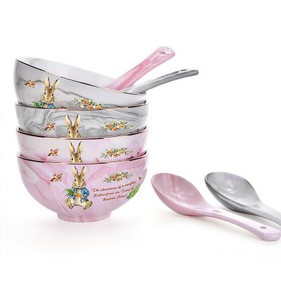 英国比得兔(PETER RABBIT)大理石纹碗套装碗加勺餐具套装餐具家用陶瓷碗 比得兔图案