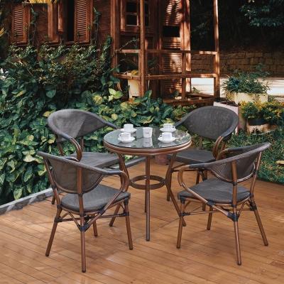 藤椅戶外陽臺桌椅庭院休閑室外咖啡店餐廳法耐外擺組合