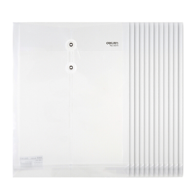 得力(deli)5511文件袋A4檔案袋透明文件袋資料袋保護袋公文袋辦公用品白色10個裝