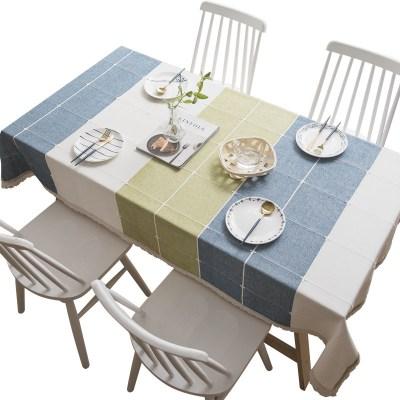 木儿家居 简约现代撞色棉麻方形桌布文艺小清新日式北欧台布茶几餐桌布艺