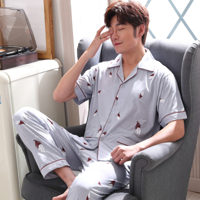 X-MAN2020夏季韩版青年夏天薄款男士睡衣简约夏季短袖家居服宽松大码套装3873