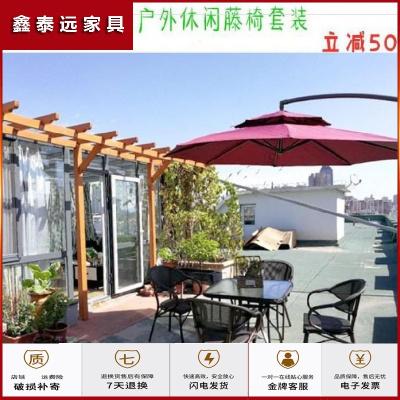 蘇寧放心購夏季咖啡店藤桌桌子沙灘圓桌咖啡廳椅茶室遮陽棚戶外桌椅傘組合。簡約新款