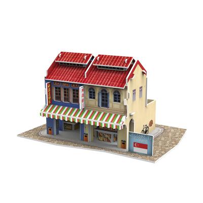 DIE-CAST樂立方3D立體拼圖紙模型拼裝拼插玩具 東南亞亞洲世界風情名建筑迷你兒童創意拼裝模型擺件 新加坡牛車水