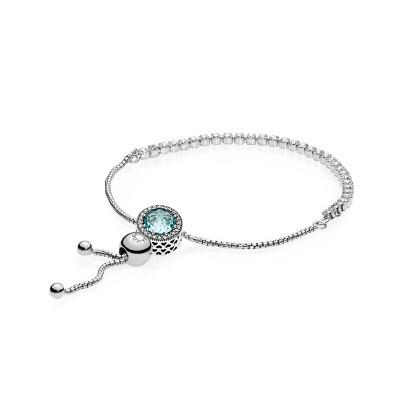 PANDORA潘多拉成品手鏈 冰河藍貓眼石 925銀時尚串珠成品手鏈