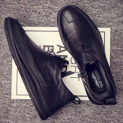 2020新款男士高幫皮鞋短皮靴棉皮鞋真皮加絨保暖棉鞋休閑英倫風男鞋馬丁靴