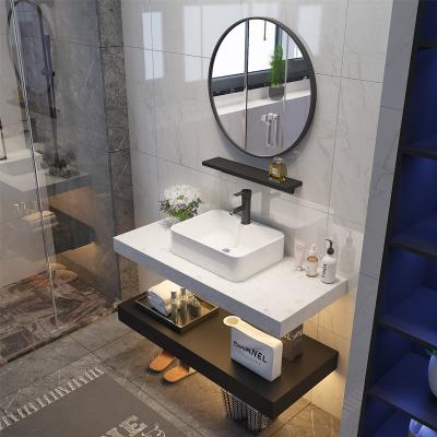 北歐大理石洗手臺洗臉盆柜組合衛生間洗漱臺現代簡約小戶型浴室柜 大理石雙層0.7米圓鏡(白+黑)
