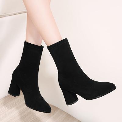 百年紀念Centenary秋冬加絨棉鞋尖頭粗跟百搭女鞋女靴子2285