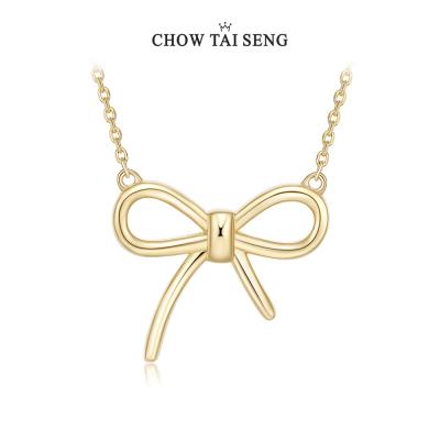 周大生銀項鏈 S925日韓風蝴蝶結鎖骨鏈 簡約氣質吊墜 送女友禮物