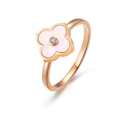 阿瑪莎 18K玫瑰金鉆石四葉草貝殼戒指