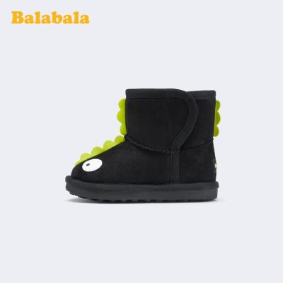 巴拉巴拉女童短靴兒童雪地靴男童冬季新款靴子小童鞋加厚加絨